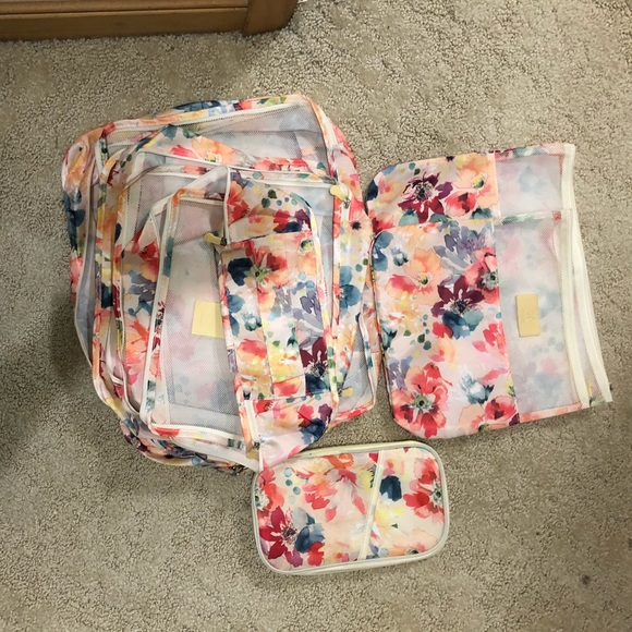 Floral packing cubes, bags and wallet
